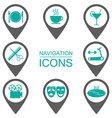 Navigation icons Silhouette icons Public vector image