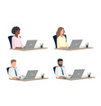 people work on laptop vector image vector image
