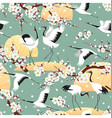 seamless pattern with japanese cranes and blossoms vector image