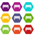 street bench icon set color hexahedron vector image vector image
