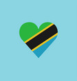 tanzania flag icon in a heart shape in flat design vector image vector image