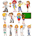 Teachers and scientists in different actions vector image vector image