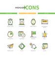time concept - modern line design style icons set vector image