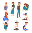 unhappy sad boys and girls set depressed lonely vector image vector image