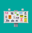 various tear off papers ad on bulletin board vector image