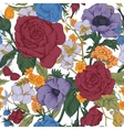 Vintage floral seamless pattern with roses vector image vector image