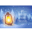 vintage lantern and magical snowfall vector image