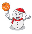 with basketball snowman character cartoon style vector image vector image