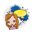woman pop art with speech bubble character vector image vector image