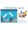 work in creative freelance shared workspace banner vector image vector image