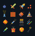 pyrotechnics for holidays and different tools for vector image