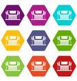 thailand temple icon set color hexahedron vector image