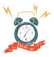 alarm clock ringing banner vector image vector image