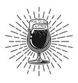 beer glass with rays black vector image vector image