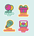 birthday labels isolated comic stickers set flat vector image vector image