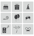 black birthday icons set vector image vector image