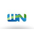 blue green wn w n alphabet letter logo vector image vector image