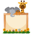 border template with elephant and giraffe in vector image vector image