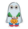 boy in halloween ghost costume vector image