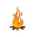 cartoon icon of bonfire campfire tree logs and vector image vector image