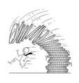 cartoon of businessman running away from falling vector image