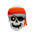 cartoon pirate skull with bandana vector image vector image