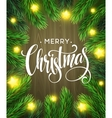 Christmas Tree Branches Border with handwriting vector image vector image
