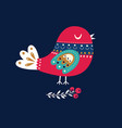 christmas with bird vector image vector image