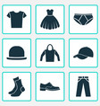 clothes icons set collection of half-hose pants vector image
