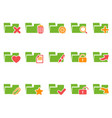 color file folder icons set vector image vector image