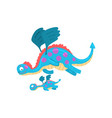 cute loving mother dragon and her baby family of vector image vector image