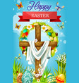Easter cross with eggs lily flowers and shroud