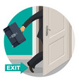 exit door and bisunessman with leather briefcase vector image vector image