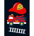 Fire Rescue with red helmet and truck vector image vector image