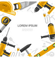 flat construction tools template vector image vector image