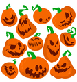 Flat pumpkins icons set vector image