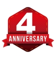 Four year anniversary badge with red ribbon vector image