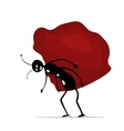funny cartoon ant worker with big stone vector image vector image