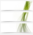 Green satin lines web footers collection vector image vector image