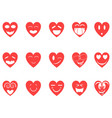 heart smiley icons set vector image vector image
