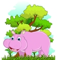 hippo with forest background vector image vector image