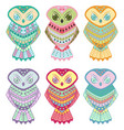 indian tribal owls set icon vector image vector image