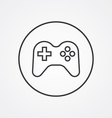 joystick outline symbol dark on white background vector image