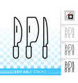 kitchen knife set simple black line icon vector image