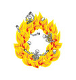 letter o hellish flames and sinners font fiery vector image