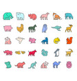 linear collection colored animal icons vector image vector image