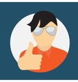 Man in Glass with Thumbs up Hand Sign Flat Icon vector image
