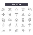 mexico line icons signs set outline vector image