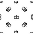 monarchy crown pattern seamless black vector image vector image