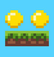 pixel game coins on grass money on ground vector image
